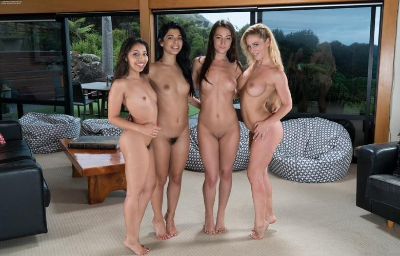 three kinky girls playing twister while the houseowner is working hard