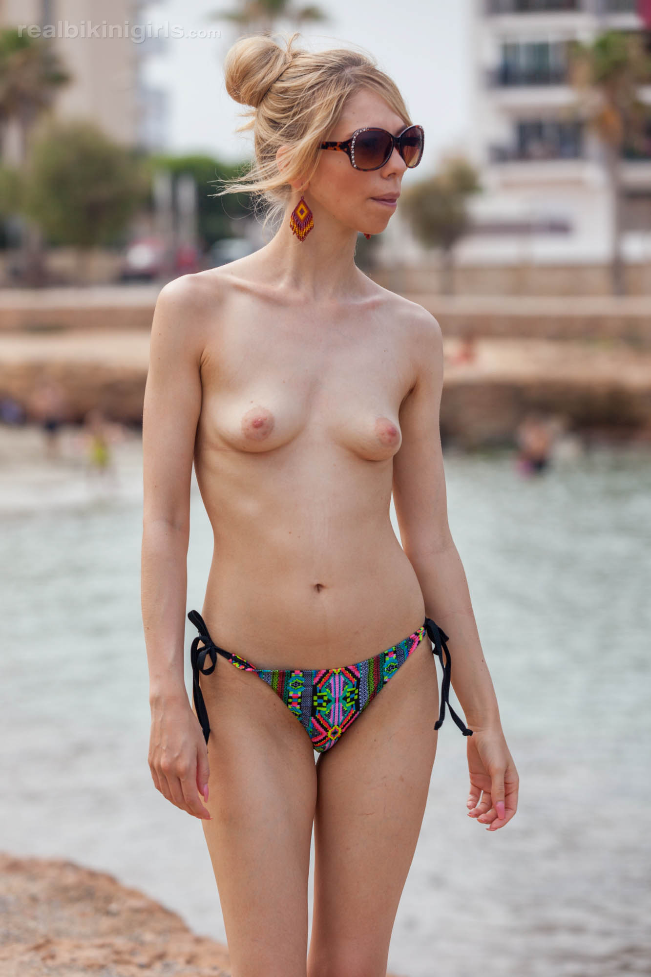 boney british cutie flashing her small bobs at ibiza beach #6