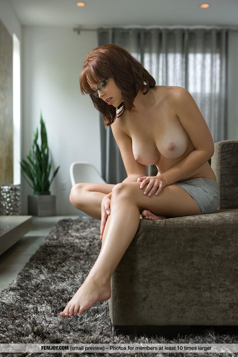 cute german  nerd with awesome tits flashing her shaved cunt #6