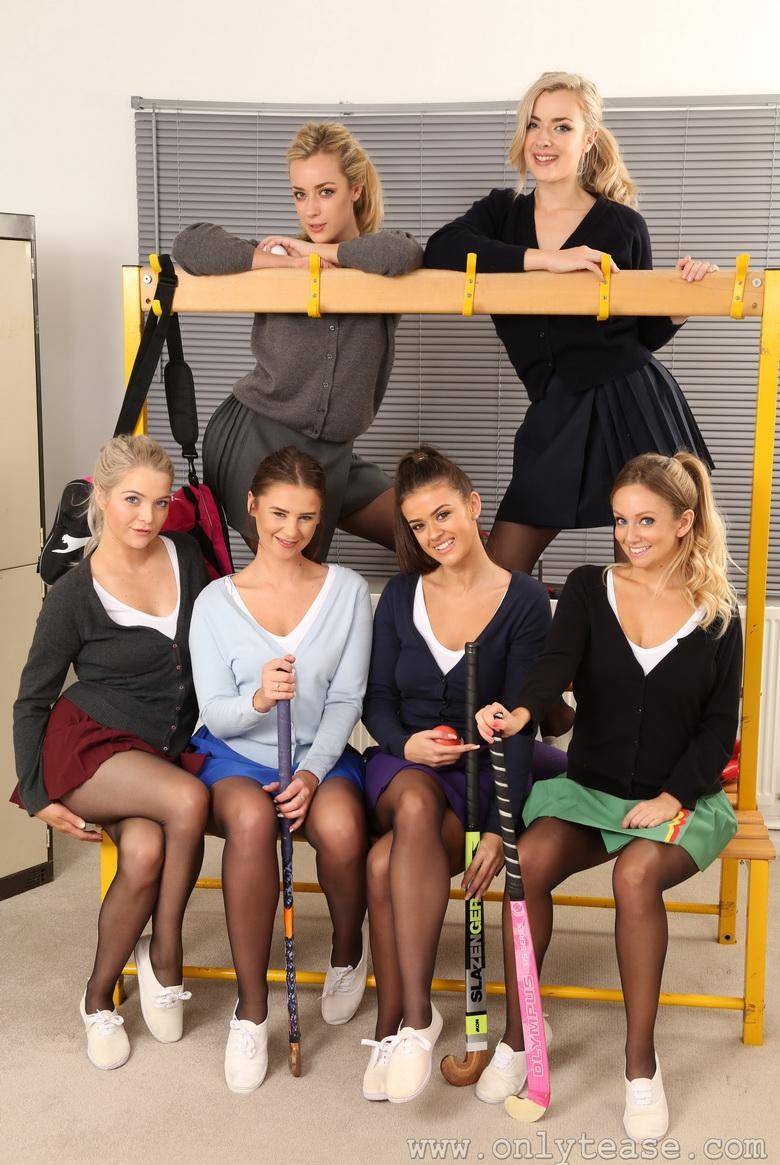 female hockey team from south essex celebrating topless new years picture