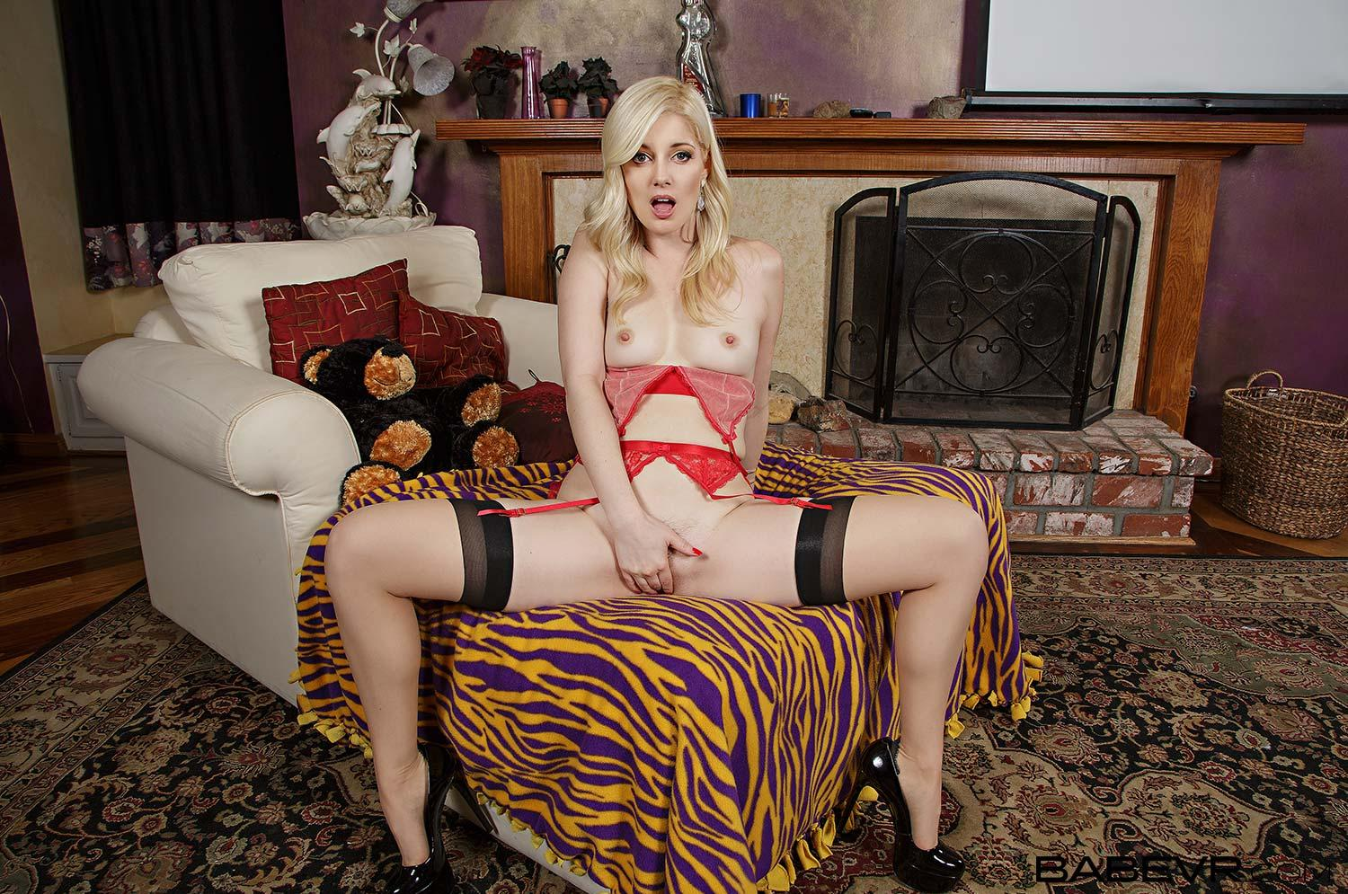 Stocking Season with blonde slender cutie Charlotte Stokely picture 2