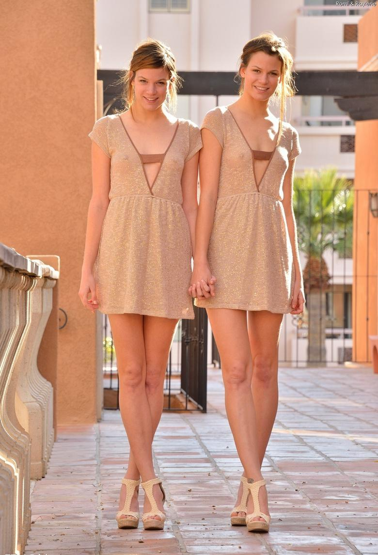 two cute twins without panties flashing itty and slitty #7