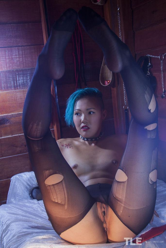 asian alt cutie with destroyed stockings #12