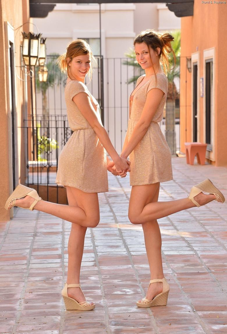 two cute twins without panties flashing itty and slitty #12