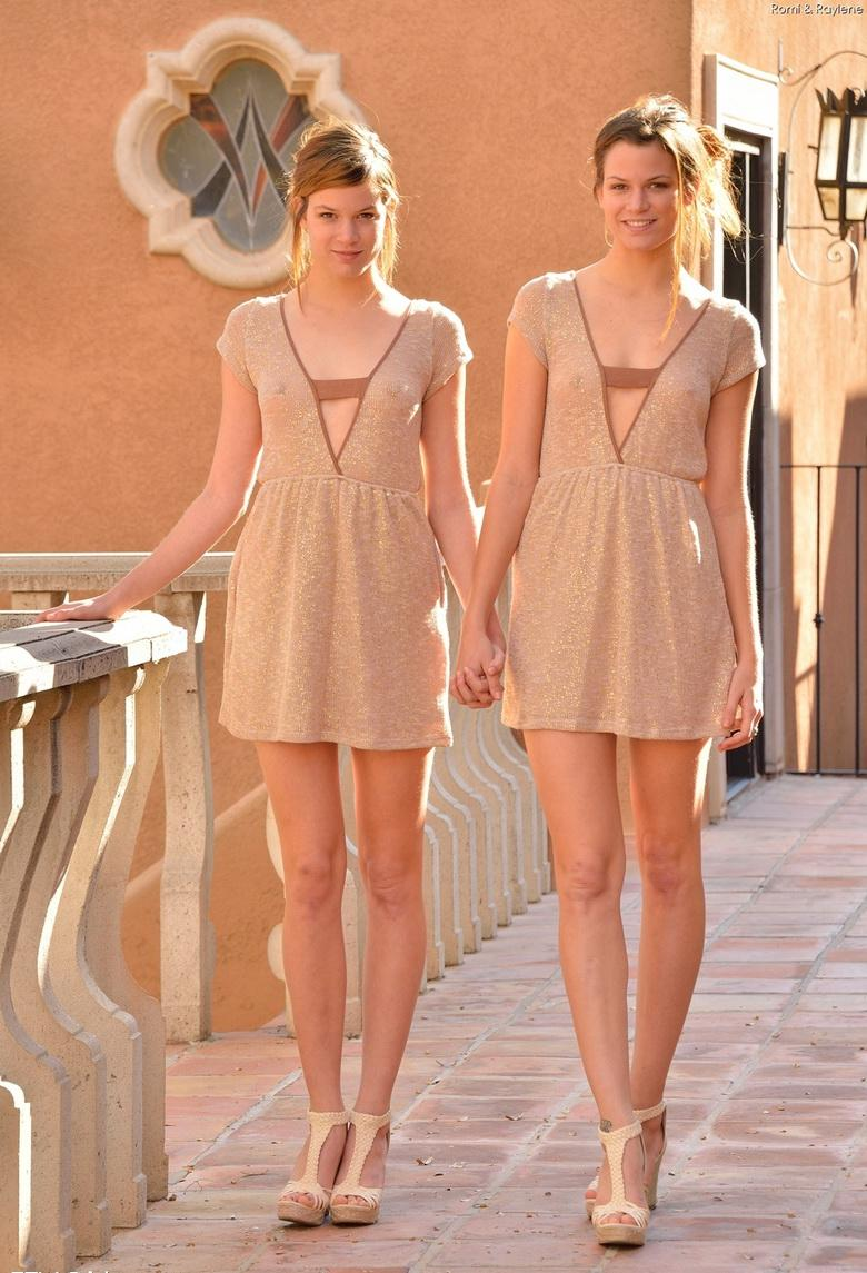 two cute twins without panties flashing itty and slitty #11