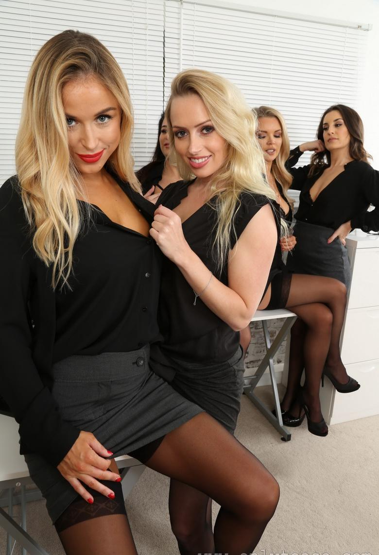 awesome group shooting with 5 marvelous office cuties in sexy lingerie #2