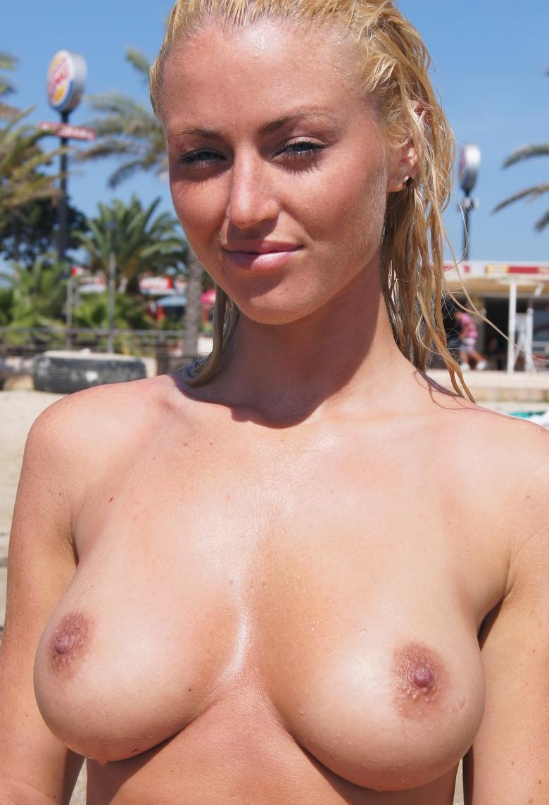 busty blonde chick flashing point blank at public beach #2