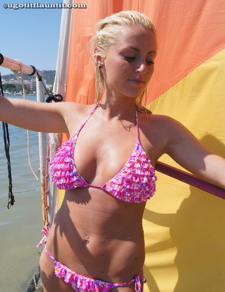 busty blonde chick flashing point blank at public beach #12