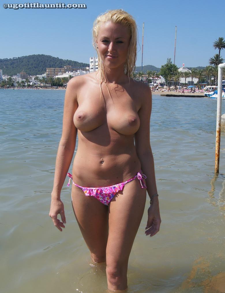 busty blonde chick flashing point blank at public beach #7