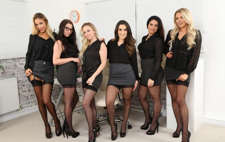 awesome group shooting with 5 marvelous office cuties in sexy lingerie #7