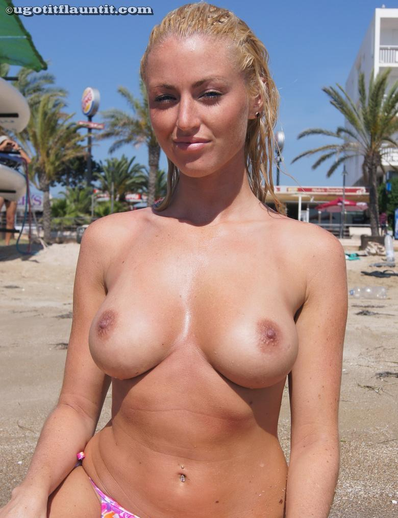 busty blonde chick flashing point blank at public beach #5