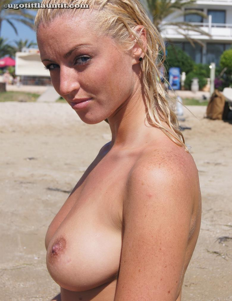 busty blonde chick flashing point blank at public beach #10