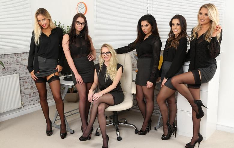 awesome group shooting with 5 marvelous office cuties in sexy lingerie #11