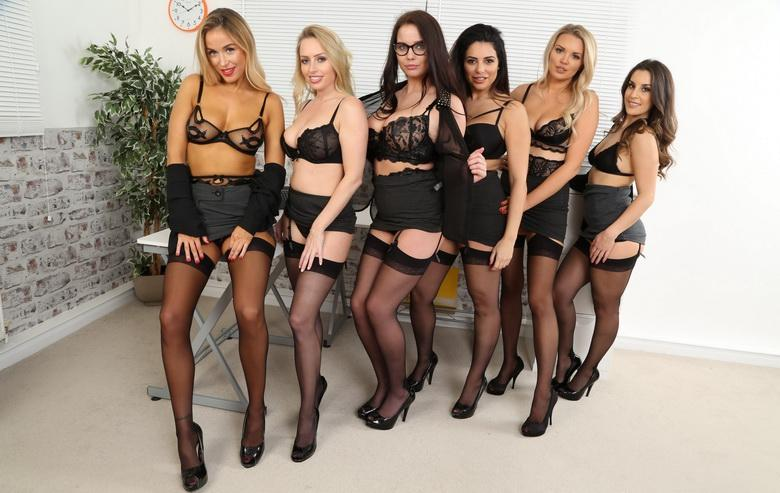 awesome group shooting with 5 marvelous office cuties in sexy lingerie #12