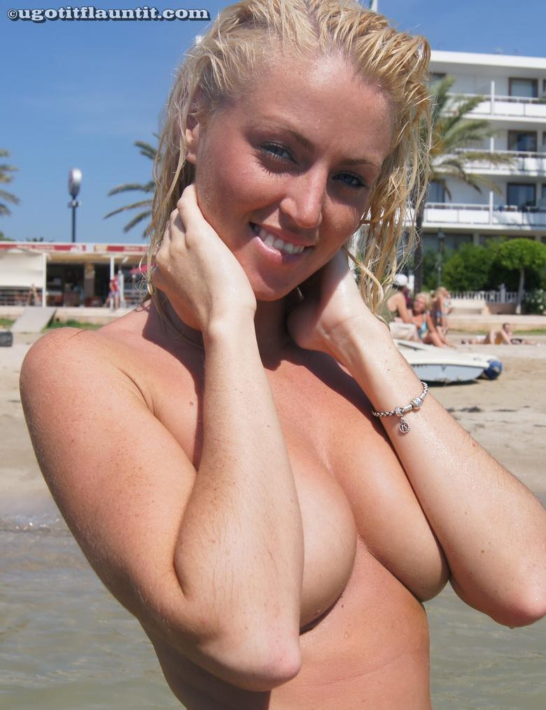 busty blonde chick flashing point blank at public beach #8