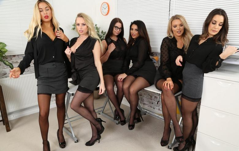 awesome group shooting with 5 marvelous office cuties in sexy lingerie #8