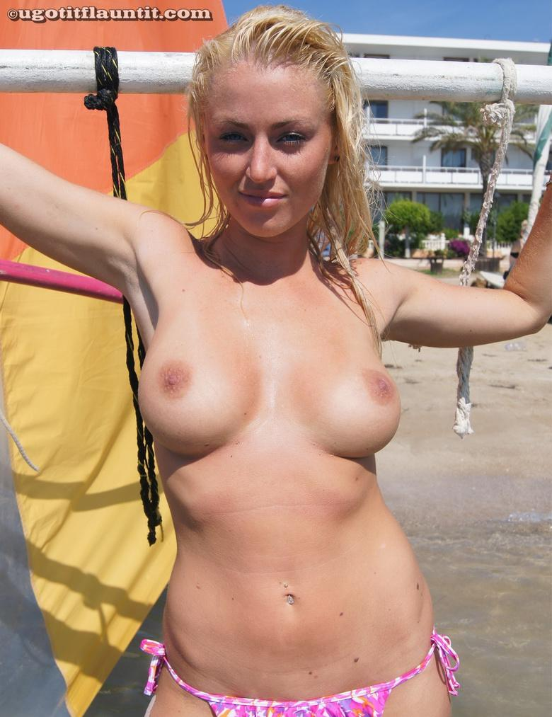 busty blonde chick flashing point blank at public beach #11