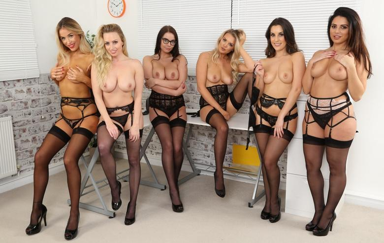 awesome group shooting with 5 marvelous office cuties in sexy lingerie #10