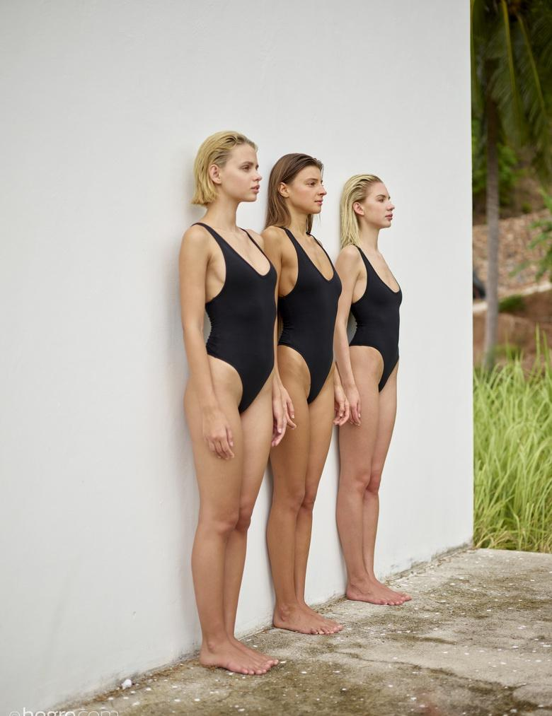 sexy maigre swimwear models going fully naked against the wall #2