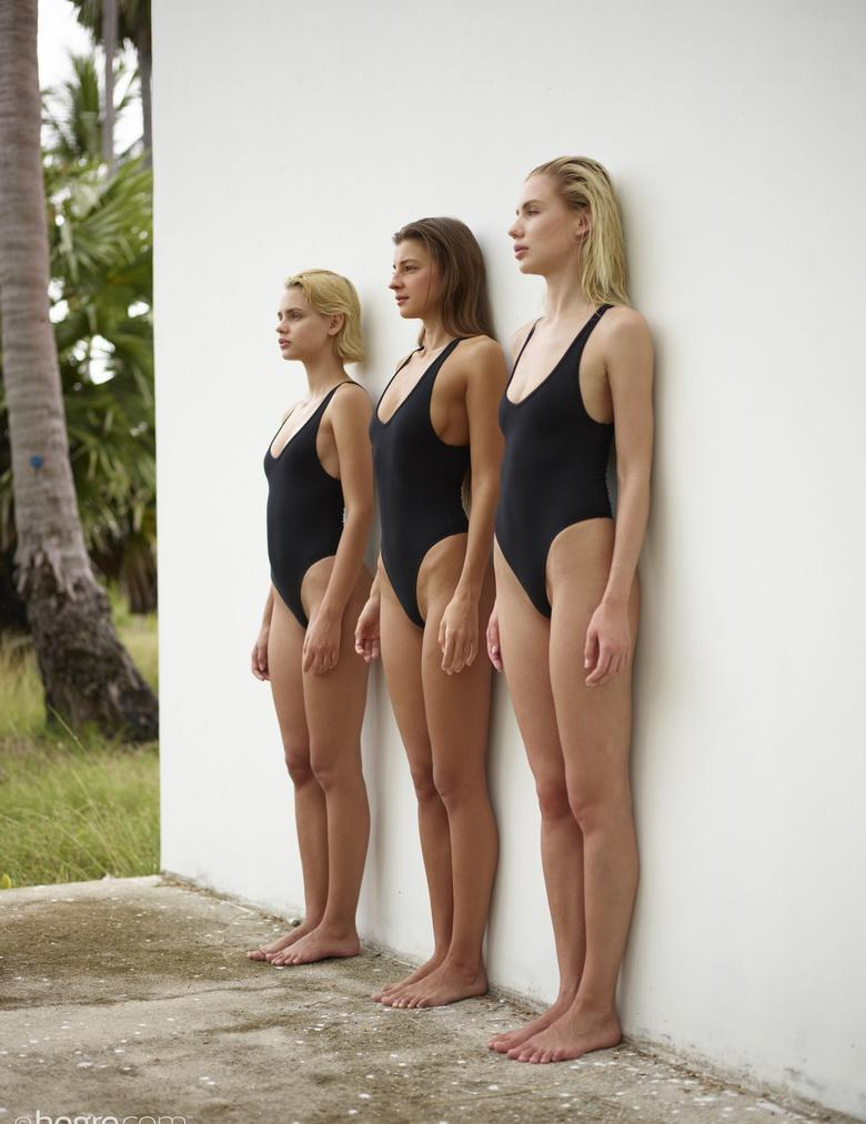 sexy maigre swimwear models going fully naked against the wall #11