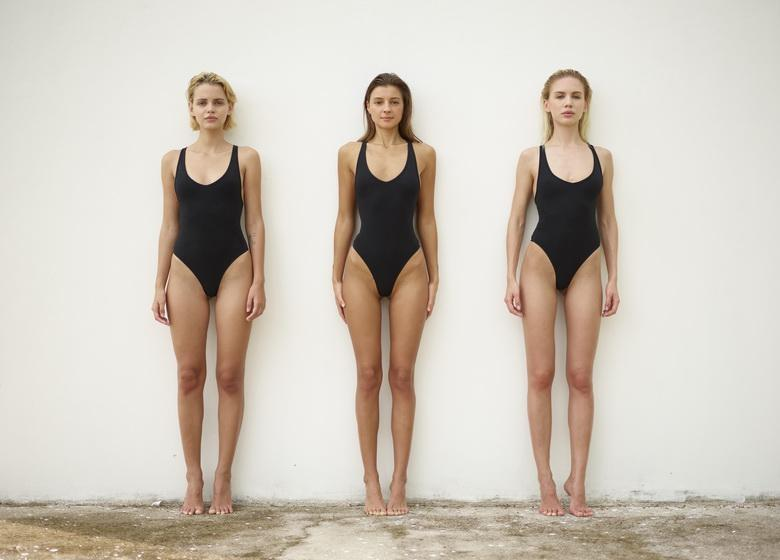 sexy maigre swimwear models going fully naked against the wall #5