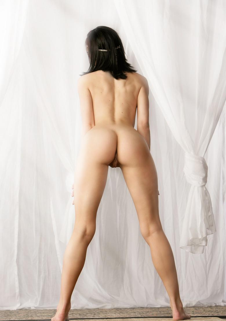 preety dark haired cutie takes of her wedding dress and flashes naked picture 15