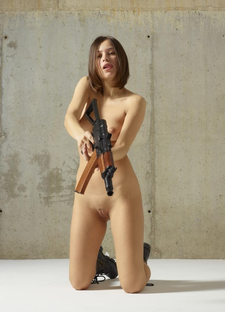 sexy athletic girl playing with an ak 47 picture 14