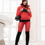 cute jeny with skintight pants talking a walk outside in winter picture 10