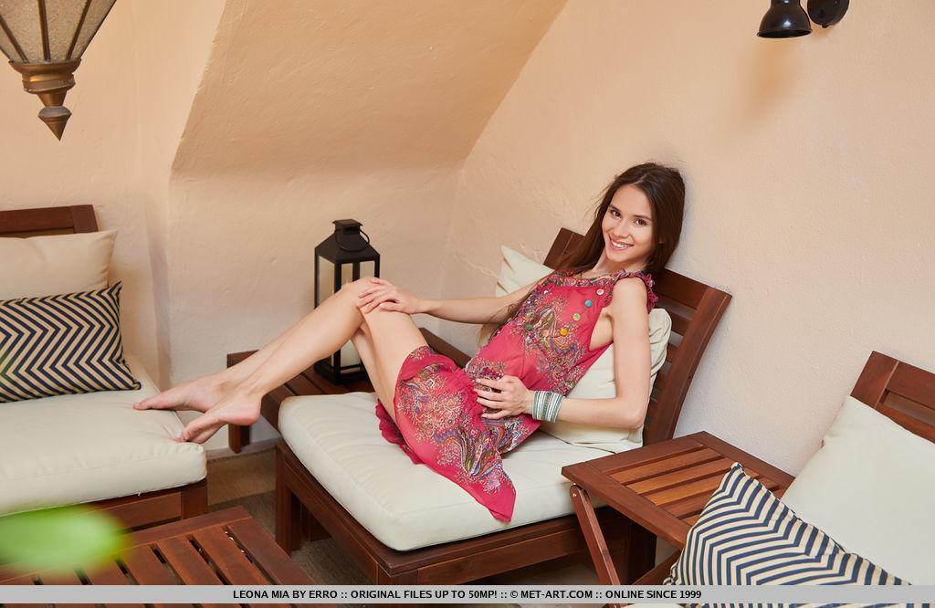 super skinny russian girl flashing her little butt on a welness chair picture 2