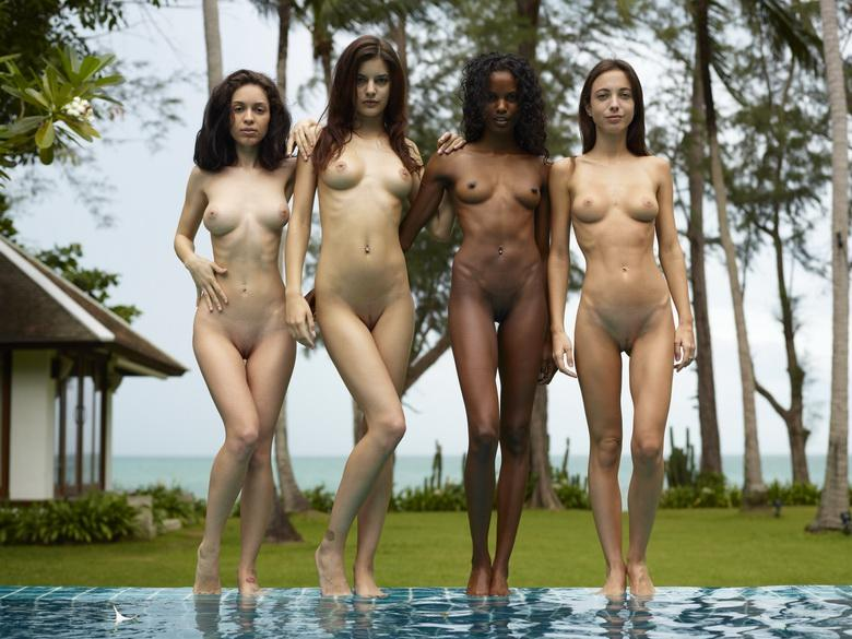 nice group shoot with a bunch of nude skinny models from hegre art picture 2