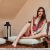 super skinny russian girl flashing her little butt on a welness chair picture 7