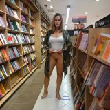 sexy mature lady flashing inside the book store picture 7