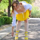 fresh girl olivia with a spontanious upskirt tease picture 6